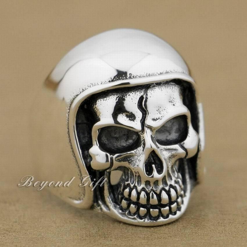 b934b323b9ab Nsion 925 sterling silver football helmet hat skull ring mens biker rock  punk style 9q011 all
