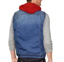 CS Men's Ripped Distressed Button Up Denim Jean Vest Removable Hood Slim Fit image 8