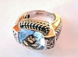 Judith Ripka ESTATE Sterling 8ct Blue Topaz .75ct Diamonique Ring Sz 6 R... - $189.95