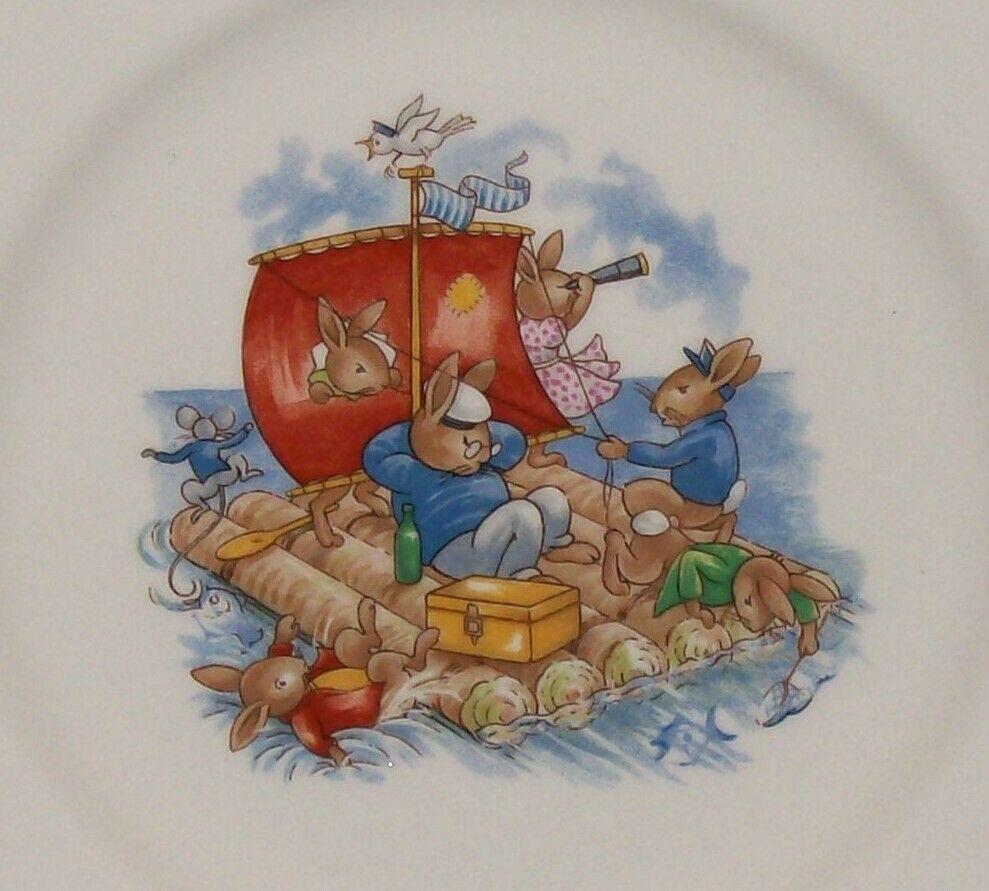 "Royal Doulton Bunnykins- 8"" Child Dinner Plate -Raft / Rafting Design SF111 -EUC"