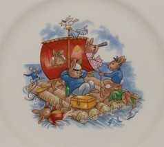 "Royal Doulton Bunnykins- 8"" Child Dinner Plate -Raft / Rafting Design SF111 -EUC image 1"