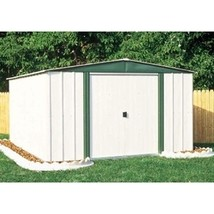Outdoor 6-ft x 8-ft Steel Storage Shed with Sliding Doors in White Eggsh... - $460.00