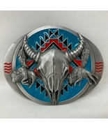 VTG Siskiyou Bull Longhorn Buffalo Turquoise Tribal Pattern Belt Buckle ... - $64.34