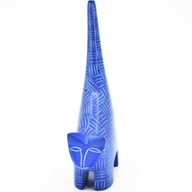 """Vaneal Group Hand Carved Kisii Soapstone Dark Blue Tail Up Cat 5"""" Figurine image 2"""