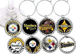Pittsburgh Steelers party theme wine glass cup charms markers 8 party fa... - $9.55