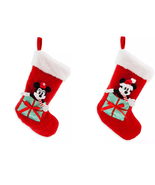 Disney Store Minnie or Mickey Mouse Plush Christmas Stocking Red Green 2... - $59.95