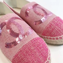 100% Authentic NEW Chanel Pink Sequin Slip On CC Logo Espadrilles Shoes Flats 37 image 6