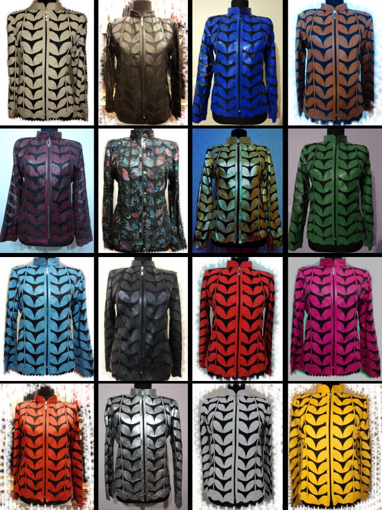 Brown Leather Leaf Jacket Women All Colours Sizes Genuine Short Zipper Light D1