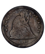 1877 25C Seated Liberty Quarter VG Condition, All Letters Legible, 2-Ton... - $64.35