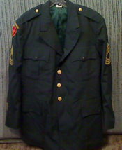 US Army Green Size 48R Dress Coat Jacket Used 27th Infantry Regiment Wolfhounds - $30.00