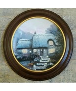 THOMAS KINKADE Collector Plate CANDLELIT COTTAGE W/WOODEN FRAME Limited ... - $56.61