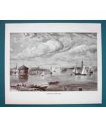 NEW YORK Harbor - 1866 Antique Print Engraving - $16.20