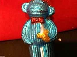 Glass ornament  sock monkey in choice of blue teal or red department 56 new image 3