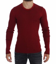 Dolce & Gabbana Red Silk Crewneck Ribbed Sweater - $348.60
