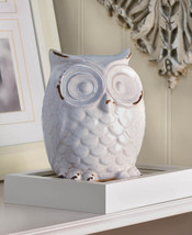 Distressed White Owl Table Top Figurine Statue Crackled Glaze Finish - $25.95