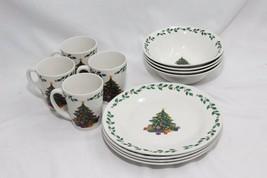 Gibson Christmas Tree Plates Bowls Mugs Set of 12 - $32.33