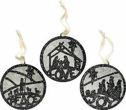 PBK Christmas Ornament - Tin Bulb Shape - Nativity Scene Silhouette 3pc ... - $16.78
