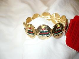 Holiday Time Women's Fashion Jewelry Gold Tone Christmas Tree Stretch Bracelet  - $12.86