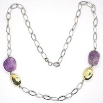 Necklace Silver 925, Amethyst Purple, Chain Ovals Worked, Length 65 CM image 3
