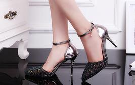 82S026 Luxury ankle sandals w sequin head,US Size 4-8.5,black - $58.80