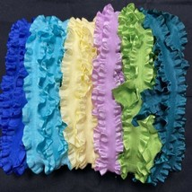 "Wrights Double Ruffle Ribbon 7/8"" Sampler 24 Yards Blue Aqua Yellow Purp... - $15.93"