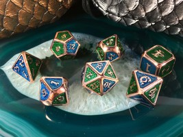D&D Blue + Green on Rose Gold METAL Dice Set + Bag 7 Pcs d20 d12 d10 d6 ... - $26.95