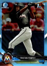 TRISTAN POMPEY MARLINS RC 2018 BOWMAN CHROME #BDC-129 BLUE REFRACTOR #d/402 - $1.79