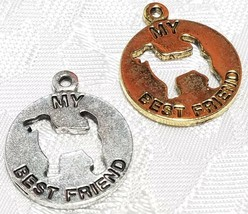 MY BEST FRIEND CUT-OUT DOG FINE PEWTER PENDANT CHARM - 19mm L x 23mm W x 2mm D