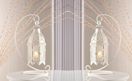 Set of 2 White Fancy Candle Lantern w/Stand Tabletop or Hanging Centerpi... - $30.99