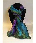 Hand Painted Silk Scarf Olive Green Orchid Purple Blue Women Unique Oblong Head - £44.76 GBP