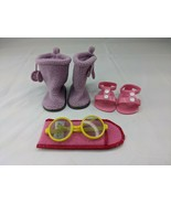 American Girl Doll Purple Boots Pink Sandals Shoes Yellow Glasses Lot - $18.95