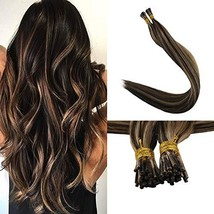Full Shine I Tip Fusion Hair Extensions 18 Inch Highlights Color 3P27 Brown And