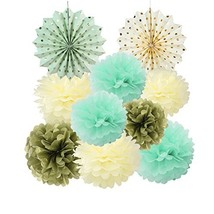 Mint Cream Gold Tissue Paper Pom Poms Flowers Gold Dot Paper Fans Collec... - $12.25