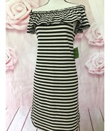 KATE SPADE NWT STRIPE OFF THE SHOULDER DRESS OFF WHITE/BLACK M BROOME ST - $89.00
