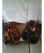 Born Womens Sandals Shoes Black & Brown Lot Leather 8 Slip On W3070 and ... - $45.99