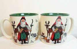 Vintage Set of 2 Woodland Santa Mugs Potpourri Press 1993 - $19.00