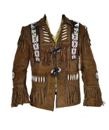 New Mens Native American Western Scully Suede Leather Jacket Fringes Eagle Beads - $159.99 - $229.99