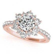 2.20 CTW Certified VS/SI Diamond Solitaire Halo Ring 18K Rose Gold Certified  - £3,543.56 GBP