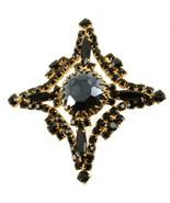 Vintage Schreiner Nero Strass Croce Maltese Pin 6.3cm - $116.99