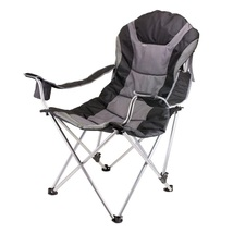 Folding Recliner Chair Black Durable Comfort Outdoor Portable Camping Be... - $69.99