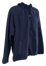 J Crew Mens Sherpa Zip Front Hooded Jacket Fleece Coat L Navy K4296 image 2
