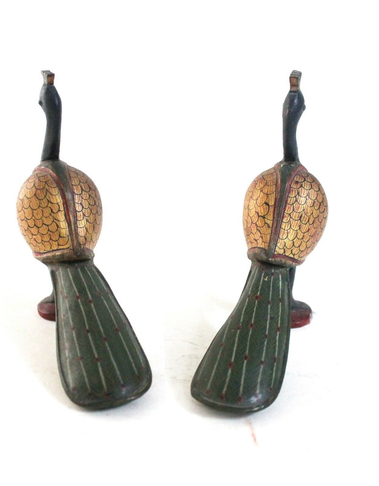 Peacock Pair Pieces Handcrafted Wooden Decorative Home Decor Vintage US665WH