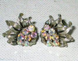Vintage CORO Aurora Borealis Rhinestone Earrings Clip Style  - $4.95