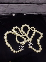 SALE! Authentic Chanel Classic 2 Enamel CC Logo Long Pearl Necklace Silver image 3
