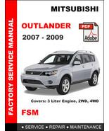 MITSUBISHI OUTLANDER 2007 - 2009 FACTORY SERVICE REPAIR WORKSHOP OEM FSM MANUAL - $14.95