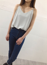 Summer V-Neck Chiffon Top Silver Gray Wedding Bridesmaids Chiffon Tops US0-IS12 image 2
