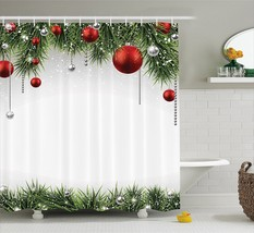 Christmas Decorations Shower Curtain Green by Ambesonne, Classical Chris... - $55.59