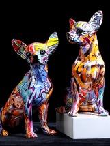 Graffiti Art Simple Creative Color Dog Statue Figurine Sculpture Home Décor - $55.71