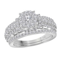 14kt White Gold Round Diamond Bridal Wedding Engagement Ring Band Set 1-1/2 Ctw - £1,820.37 GBP
