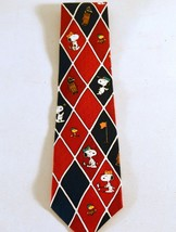 Peanuts Snoopy & Woodstock Playing Golf Silk Tie Necktie Form is Everything - $6.93